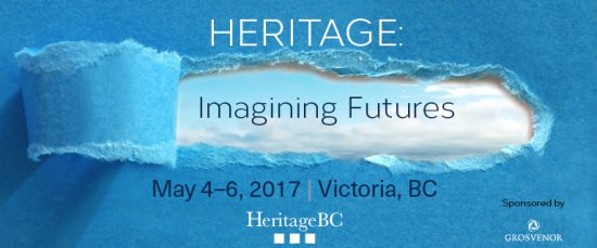 conference banner - Heritage: Imagining Futures; image is blue paper with torn out section revealing sky beyond.