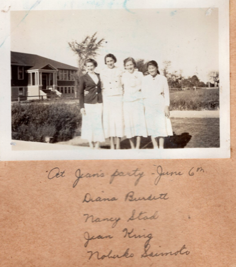 Image supplied by author; faded picture of relatives outside of building